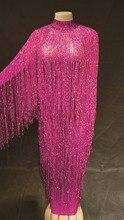8 Colors Fringes Long Dress Evening Party Birthday Celebrate Tassel Dress Singer Dance Costume