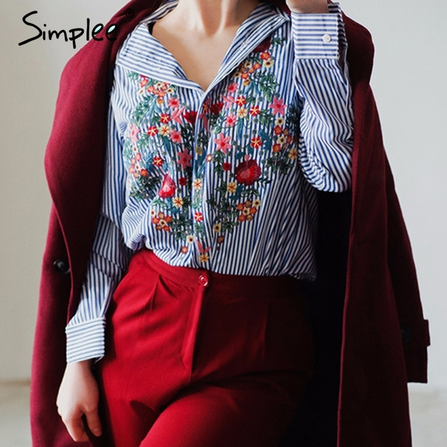 Simplee Embroidery female blouse shirt Casual blue striped shirt 2016 autumn winter cool long sleeve blouse women tops blusas