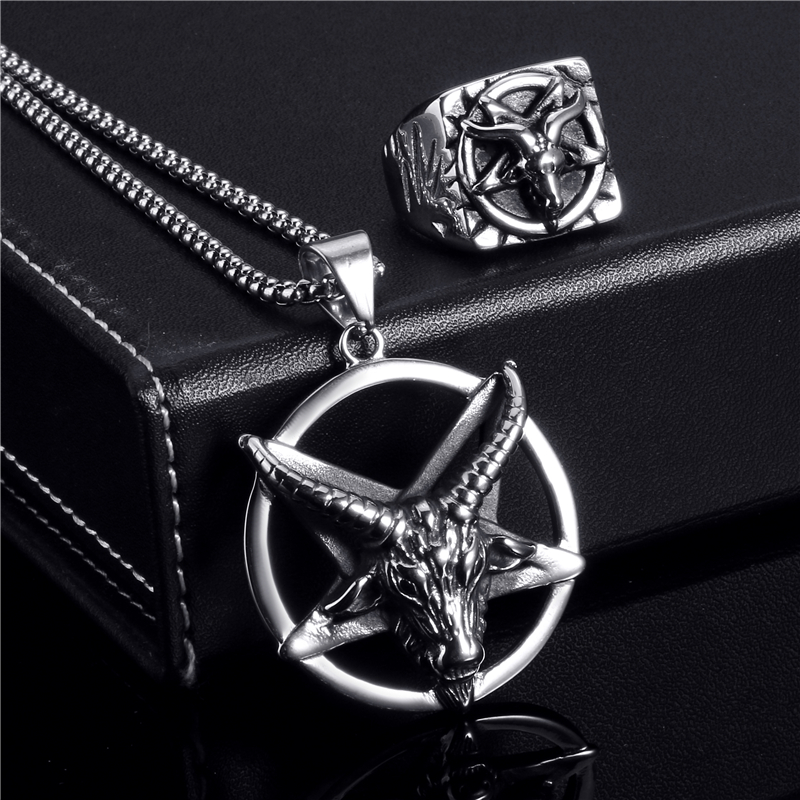 Elfasio Jewelry Set Ring Penadnt Necklace Set Pentagram Baphomet Goat Devil Shar Symbol Stainless Steel Chain Vintage Up-To-Date Styling