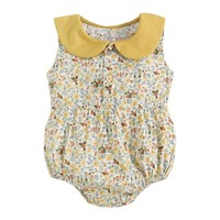 Baby Girl Cute Floral Printed Romper Small Floral Doll Collar Sleeveless Cotton Romper For 0 3Y Baby Girls Popular