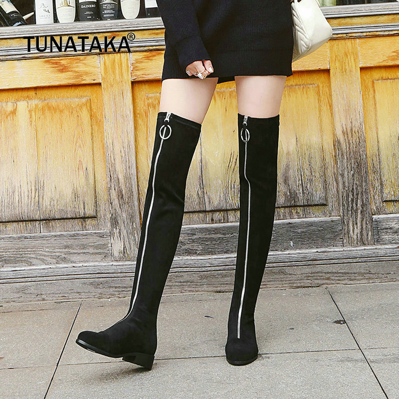 Suede Comofrt Square Heel Woman Over The Knee Boots Fashion Zipper Party Thigh Boots Woman Black Gray