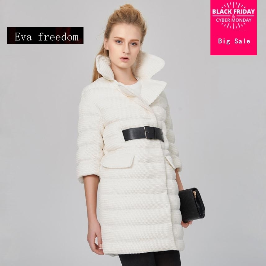 Winter Plus size 90% white duck   down   thicker warm   coat   Fashion female long thicker warm fashion brand EVA   down     coat   wj1585