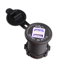 1 Piece Blue LED 5V 3.1A Car Cigarette Lighter USB Charger With High Quality Wire Harness – Dual USB Car Cigarette Lighter Socket
