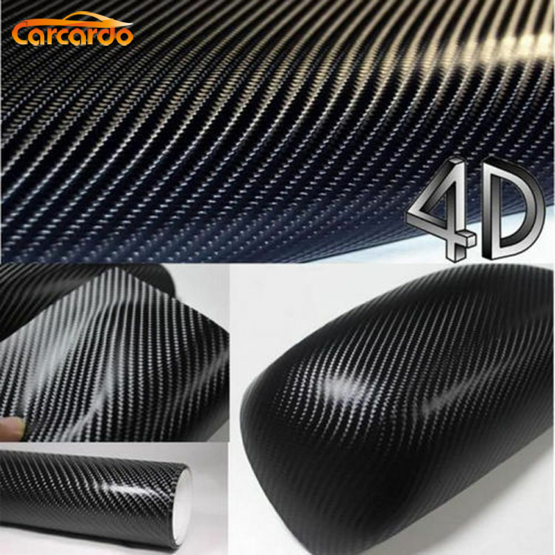 Carcardo 1.52MX0.5M Black 4D Carbon Fiber Vinyl Film Texture 4D Carbon Fiber Sticker 4D Car Sticker with Bubble Free