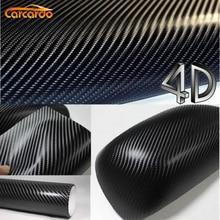 Carcardo 1.52MX0.5M Black 4D Carbon Fiber Vinyl Film Texture 4D Carbon Fibre Sticker 4D Car Sticker With Bubble Free