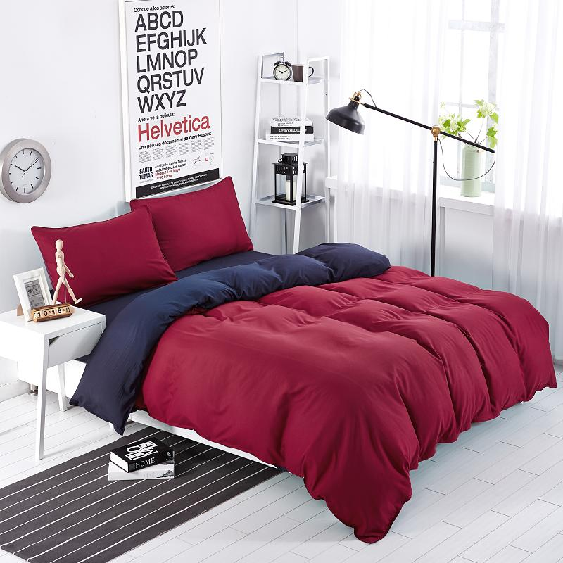 bedding sets simple wine red deep purple striped bed sheet duver quilt cover pillowcase soft - Striped Sheets