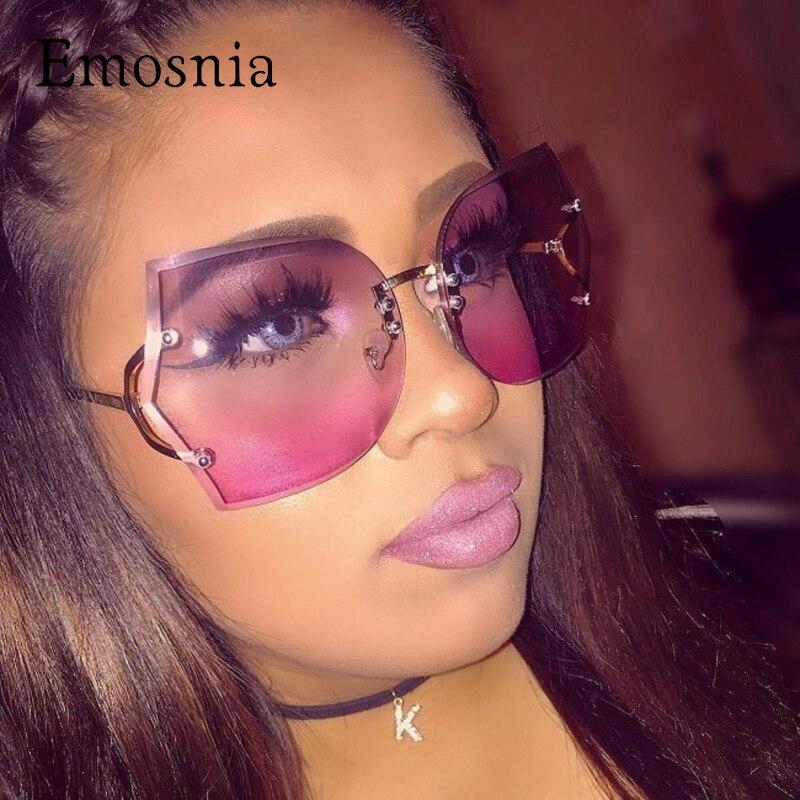 Emosnia Gradienten Übergroßen Randlose Sonnenbrille Frauen Original Designer Gradienten Vintage Brillen Weibliche Oculos UV400 Mit Tuch