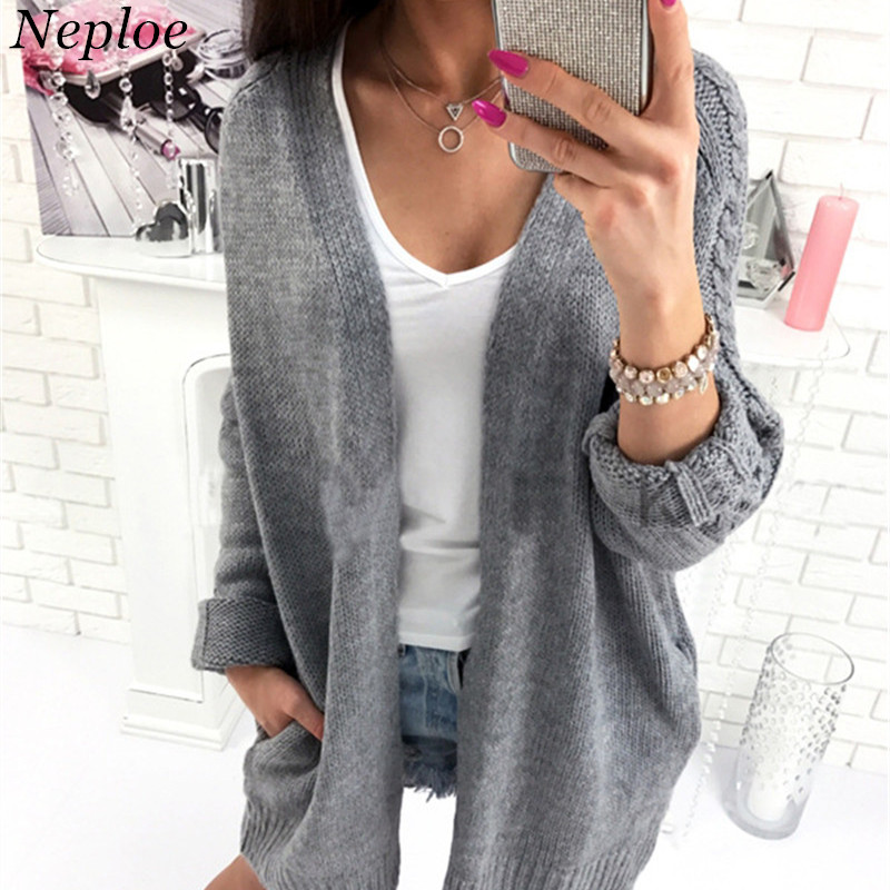 Women's Clothing Cardigans Neploe Knitted Pockets Women Cardigan Solid V-neck Long Women Girl Open Stich 2019 New Auttum Winter Fashion Loose Sweater 68643