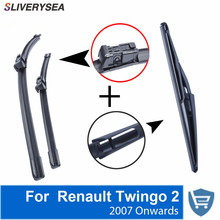 SALIVERYSEA Front and Rear Wiper Blade no Arm For Renault Twingo 2 2007 Onwards High quality Natural Rubber windscreen 24''+16''