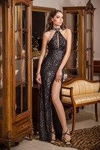 Schwarz Farbe Meerjungfrau Halfter Ärmellose Offenen Rücken Sexy Split Pailletten Perlen Bandage Frauen Mode Kleider Asiatischen Abendkleid