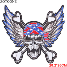 ZOTOONE Cool Large America Skull Punk Patches for Clothing Angel Wings Embroidered Iron on Motorcycle Patches Jacket Applique E
