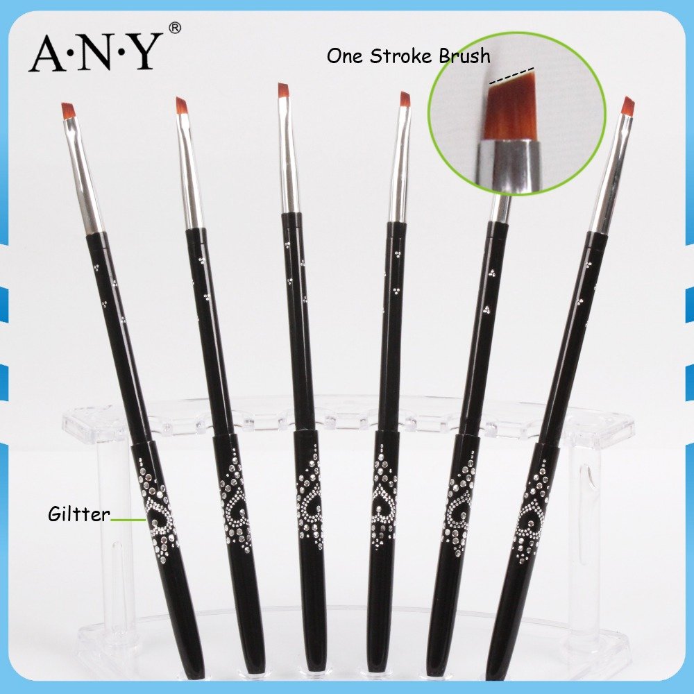 Free Shipping New Brand Nylon Hair Metal Handle Nail Care Design Nail Art Brush Angled 4# Single Piece A026