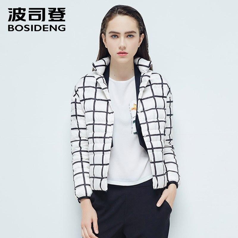 BOSIDENG women goose down jacket short down coat alternate black and white blocks OL fashion ultra light high quality B1601056