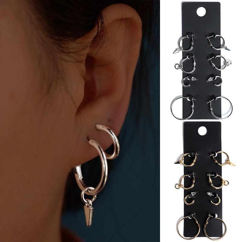 Newest Arrival 4Pairs/Set jewelry Alloy Golden/Silvery Allergy Free Hot Sale Round Earring Set earrings for women oorbellen