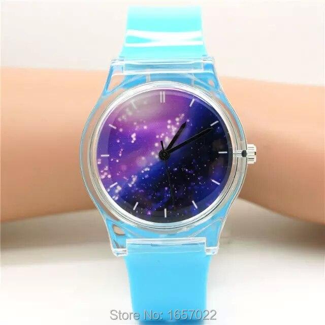 где купить Unisex women men purple space plastic watch children night sky light and scrub watch student little star dial quartz watch по лучшей цене