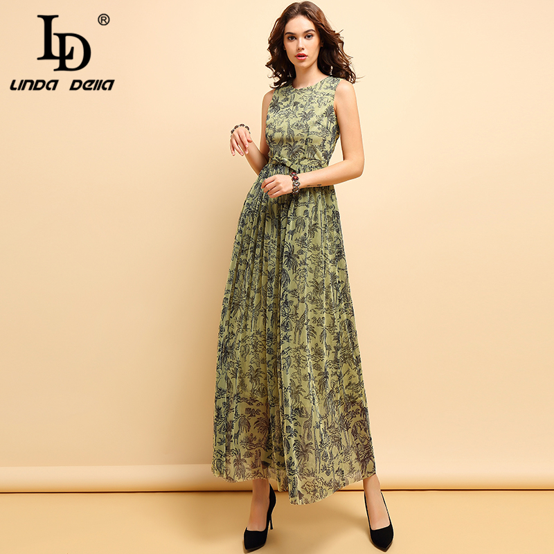LD LINDA DELLA Fashion Spring Summer Maxi Dress Women's Vintage Bow Animal Printed Mesh Overlay Elegant Party Long Dresses 2019