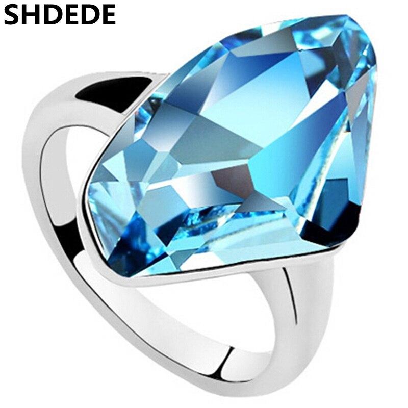 SHDEDE High Quality Big Blue Crystal from Swarovski Wedding Engagement Rings For Women Fashion