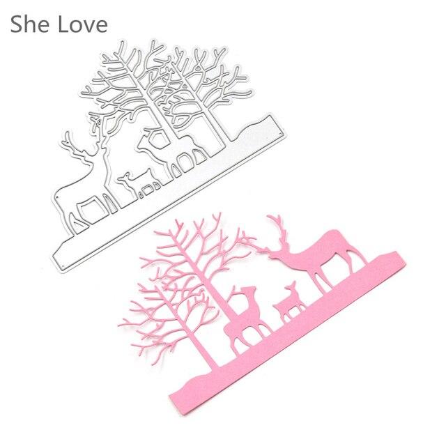 She Love Xmas Deer Tree Design Metal Cutting Dies Stencils for DIY Scrapbooking Photo Album Embossing Template Decor