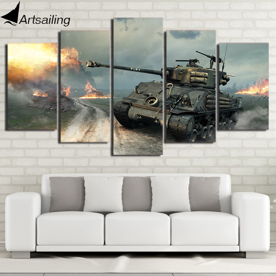 HD Printed War World of Tanks 5ps picture painting wall art Canvas Print room decor poster canvas Free shipping/up-1194