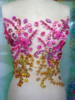 Fashion hot sale!Handmade crystal patches sew on pink/golden AB colour Rhinestones applique with stones sequins beads 31*27cm