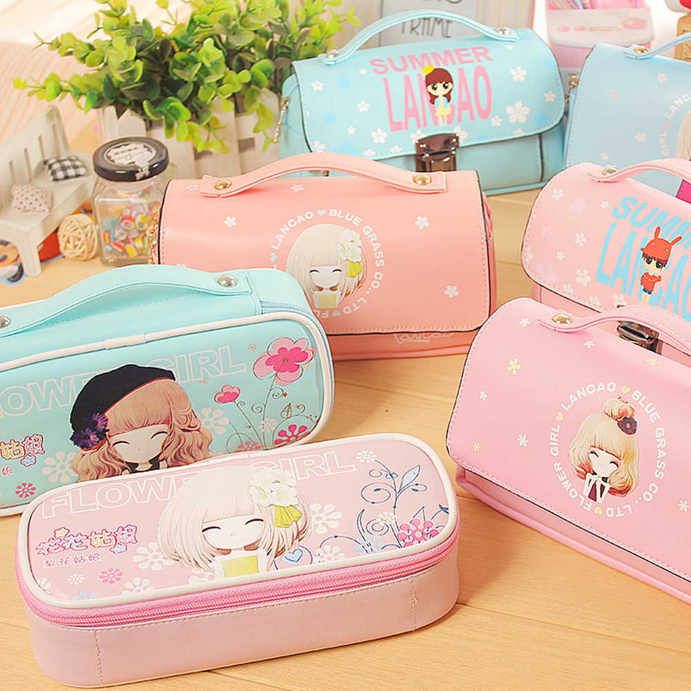 Kawaii Lovely School Pencil Case Large Capacity PU Leather Portable Pencil Bag Case For Girls Christmas Gift Stationery Supplies  10pcs lot cute fruit pudding large capacity pu pencil bag leather pen case canetas stationery school supplies watermelon