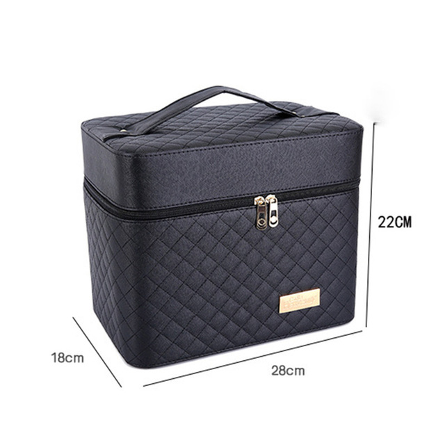 Women Large Capacity Professional Makeup Organizer Fashion Toiletry Cosmetic Bag Multilayer Storage Box Portable Pretty Suitcase 2