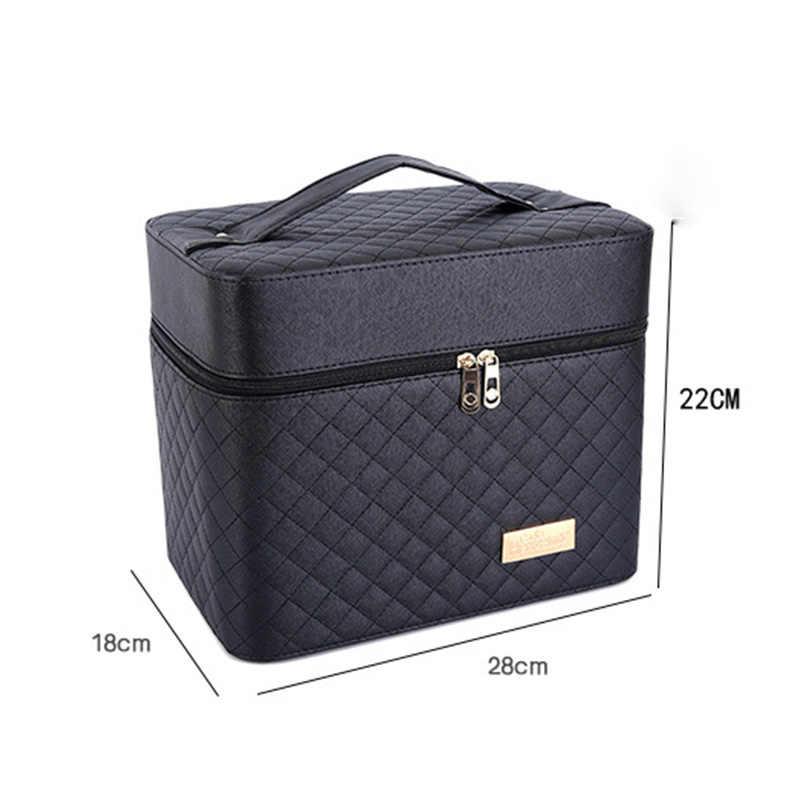 Kadın büyük kapasiteli profesyonel makyaj organizatör moda makyaj çantası çok katmanlı saklama kutusu taşınabilir güzel bavul