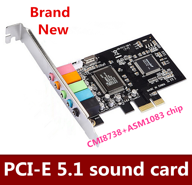 High Qualit   5pcs/lot  PCIE sound card 6 channel sound card CMI8738 chip PCI-E 5.1 stereo audio card      Free shipping ess 4 1 channel pci sound card red