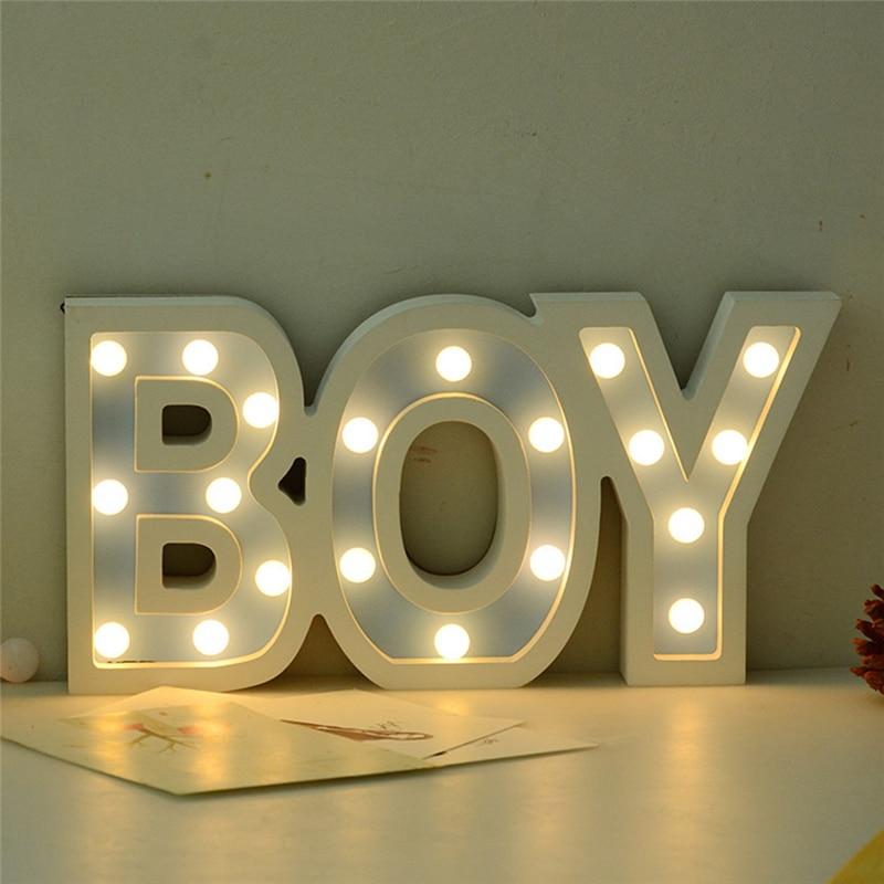 Romantic Indoor 3D Boy Girl Marquee Letter Night Lights LED Battery Nightlight Desk Night Lamp For Baby Kids Bedroom Decoration стоимость