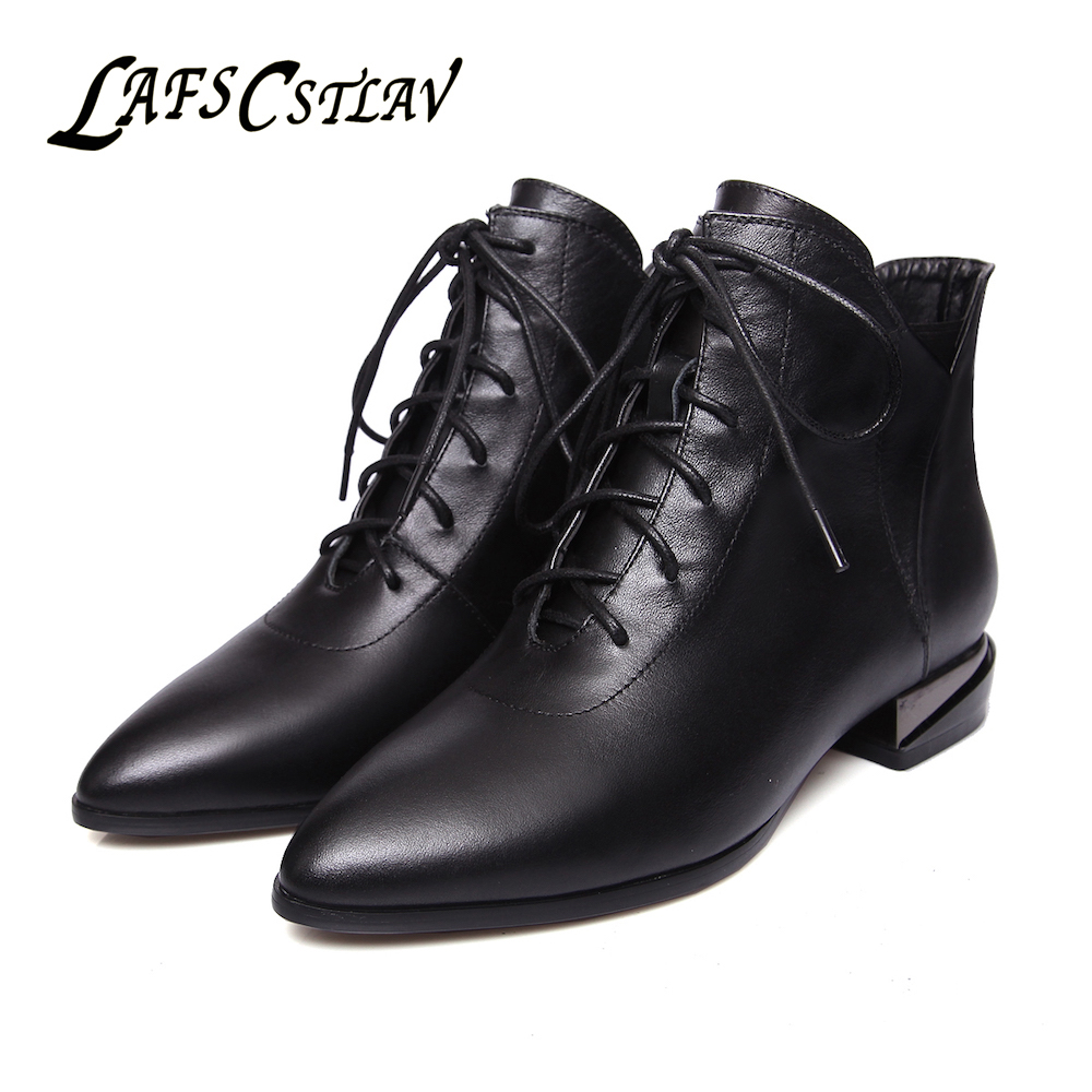 где купить LAFS CSTLAV Handmade Genuine Leather Ankle Boots for Women Martin Lace Up Pointed Toe Low Heel Short Booties Dress Shoes Woman по лучшей цене