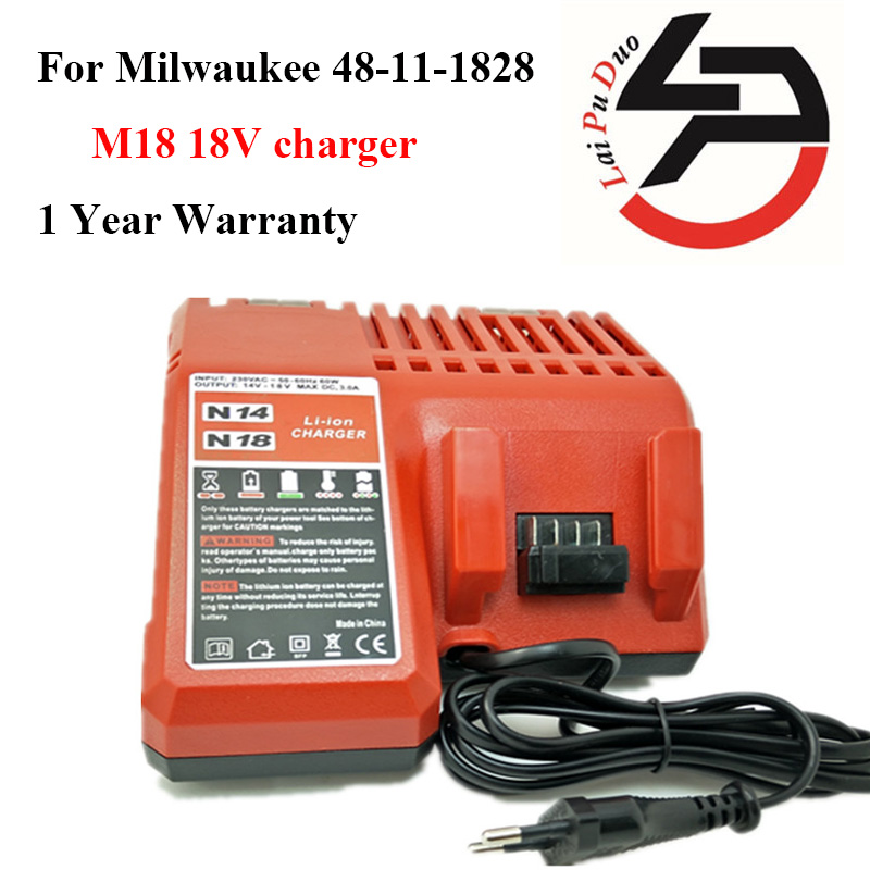 Replacement Cordless Drill Battery Charger For Milwaukee 48-11-1828 power tool li-ion battery charger M18 18V charger power tools replacement li ion battery charger electric screwdriver lithium ion battery charger for milwaukee m12 m18 ac110 230v