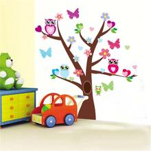 wise owls butterflies on colorful tree wall stickers for kids rooms 1006 decorative Nursey Home Decor ovable pvc  decal