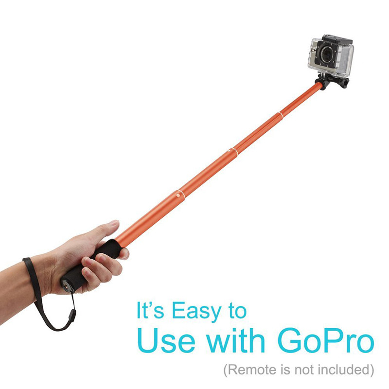 Bluetooth Selfie Stick GoPro Monopod with Tripod Stand for iPhone and Android (Orange) (5)