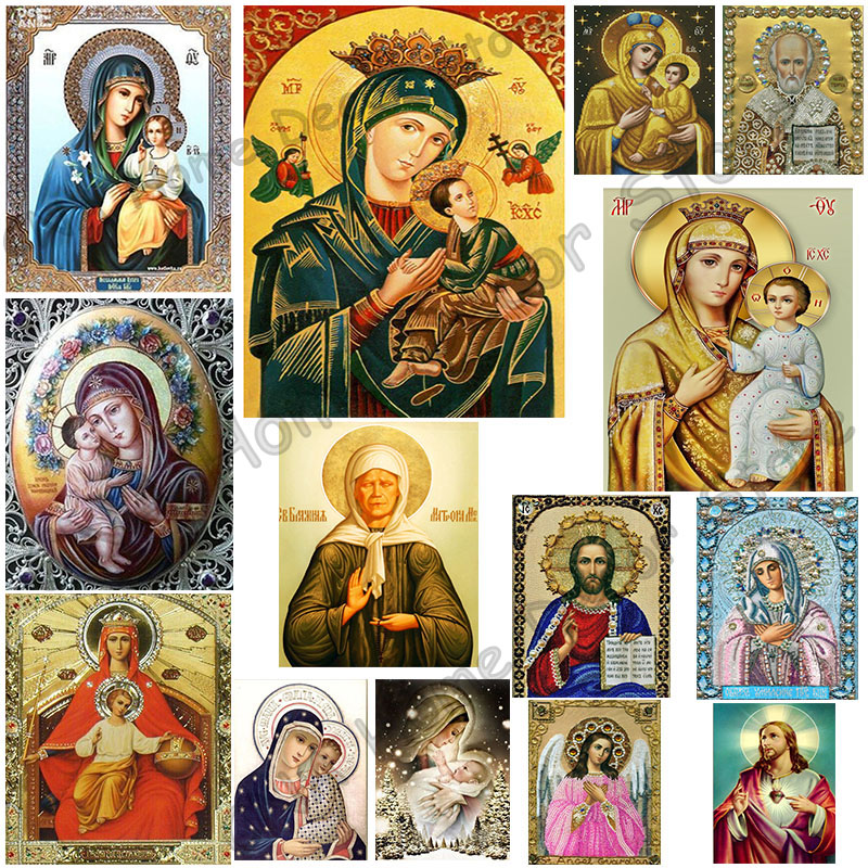 Full Religion Lady Godfather Drill Mosaic 5D Diy Broderi Diamantmålning Resin 3D Cross Stitch Kit Room Decor Hantverk