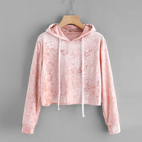 Womens Long Sleeve Hoodie Sweatshirt Jumper Hooded Pullover Tops Velvet Pink Spring Autumn Winter Short Woman