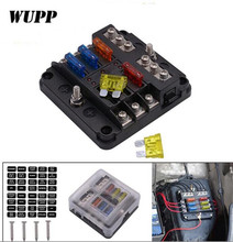 WUPP Independent Car Fuse Holder PBT PC Box Fog Lights Headlight refrigerator Charger Fan Protection Block 6 Ways