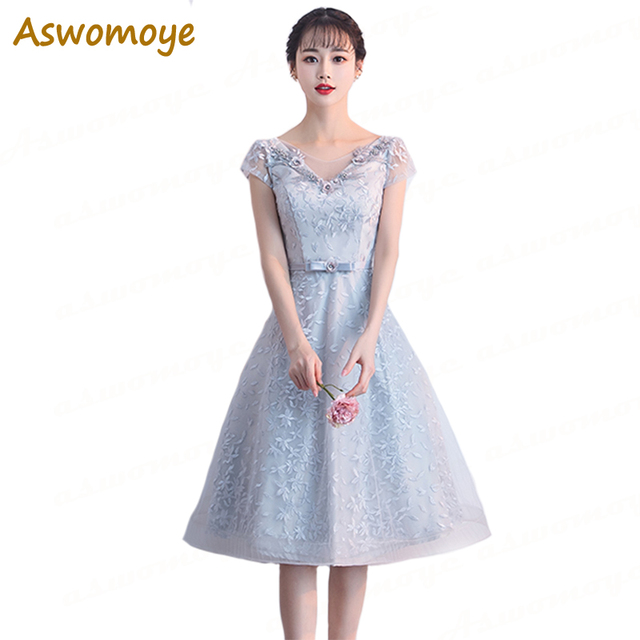 Aswomoye Elegant A-Line Evening Dress Short 2018 New Appliques Sashes  Silver Prom Dress Beaded V neck robe de soiree 8451a3f1891e