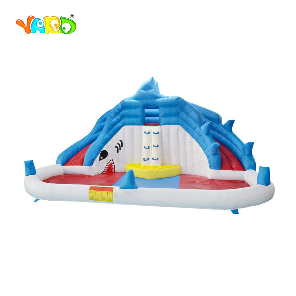 YARD Shark Kids Inflatable Water Slide Big Pool Bounce House Jumper Bouncer Jump Bouncy Castle Summer Games