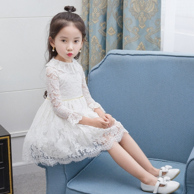 2018 summer elegant girls dress pink lace bow party tulle flower ...