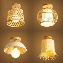 Китайский стиль ретро пасторальный коридор клуб крыльцо японского ротанга бамбука искусство потолочные светильники