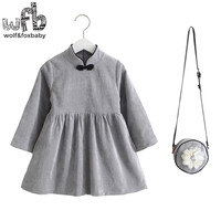Retail 2 10years Dress Bag Set Full Sleeve Chinese Style Solid Color New Cute Kids Baby