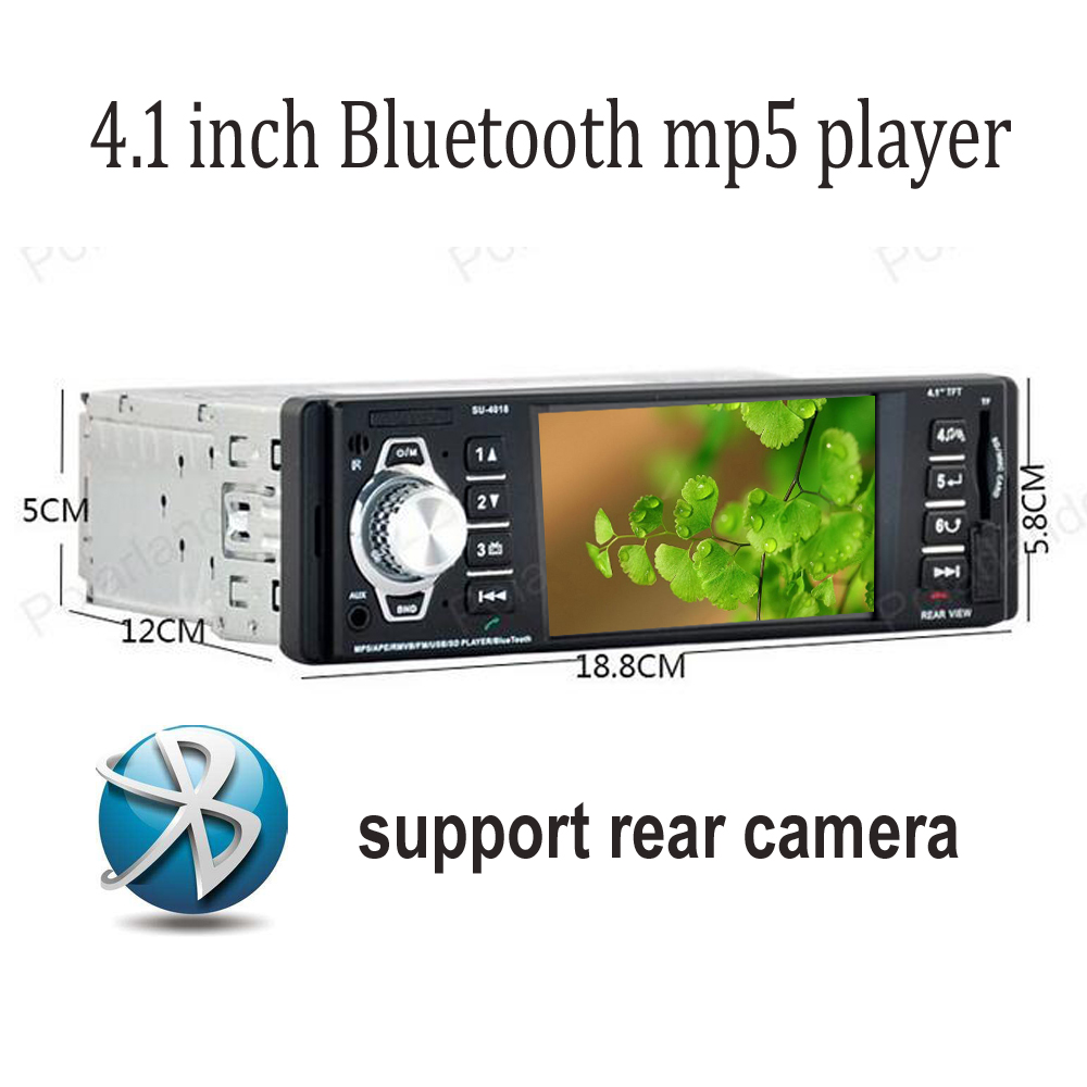 Bluetooth FM car radio 4.1 inch TFT screen 1080P video USB / SD / AUX mp5 player support Rear camera stereo 1 din