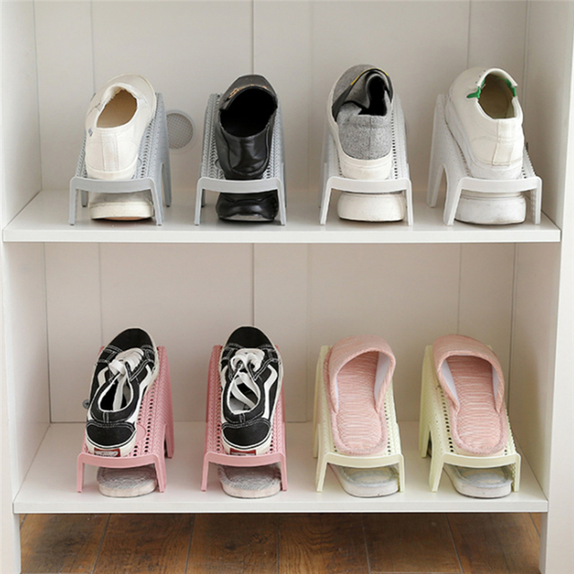 b756ee56f Único Criativo Organizador Economia de Espaço em Rack Rack De Sapatos De  Plástico Ajustável Cabide De