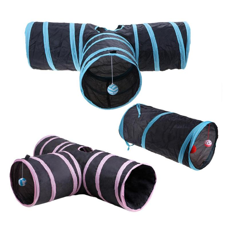 Pet Cat Tunnel Foldabe Indoor Outdoor Pet Cats Training Toys for Cat Kitten Rabbit Animals Play Tunnel Tubes with Bell image