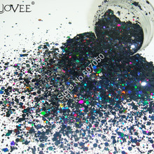 Голографические лазерные черные цветные блестки для ногтей, шестиугольные блестки, блестки в форме порошка для рукоделия, Нейл-арт, макияж, блестки для рукоделия