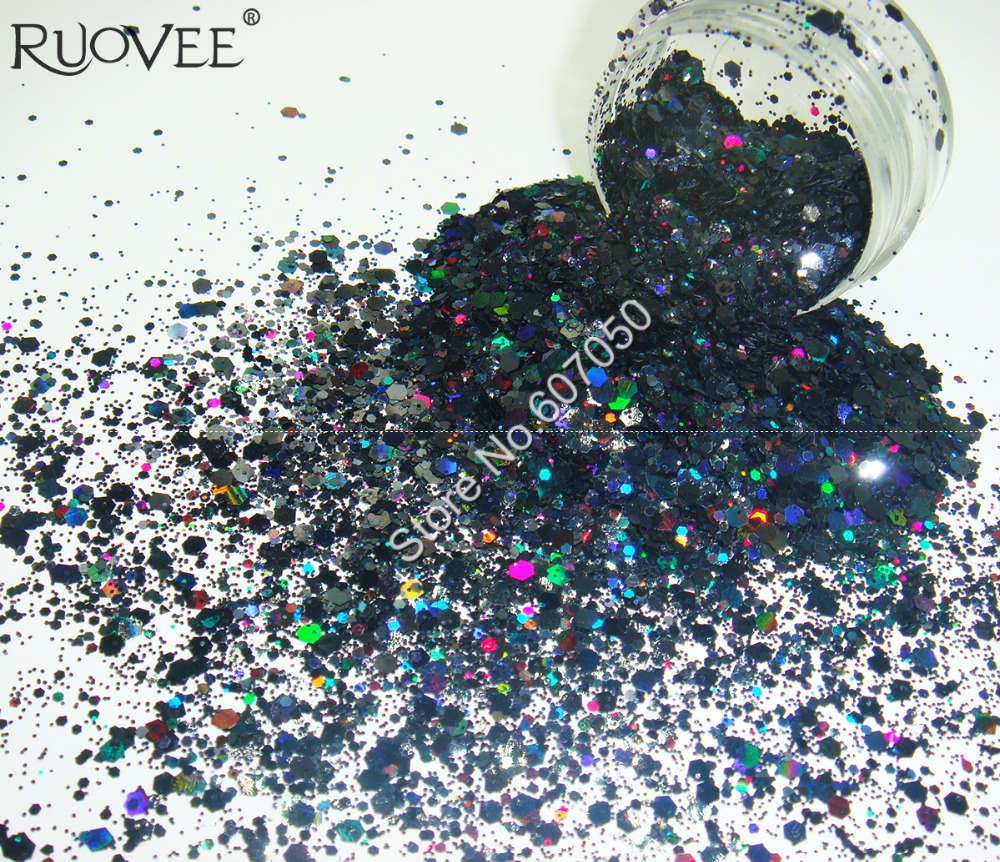 50gram x Holographic Laser Black Colors Glitter Mix Hexagon Paillette Spangle Powder Shape for Nail Art Glitter Craft Decoration