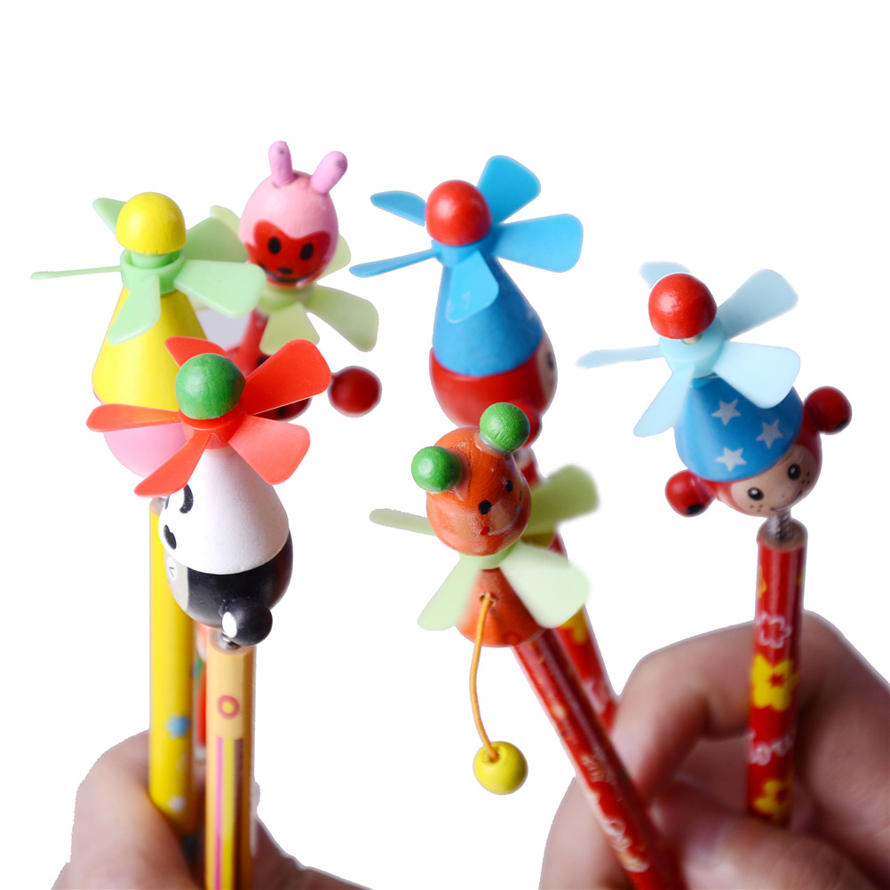 Wooden Cartoon Windmill Pencil Animal Design Kids Windmill Pencil Children Creative Toy > 3 Years Old