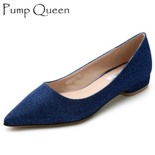 Women's Flats Slip Spring Pointed Toe Shoes Casual Shoes Fashion Blue