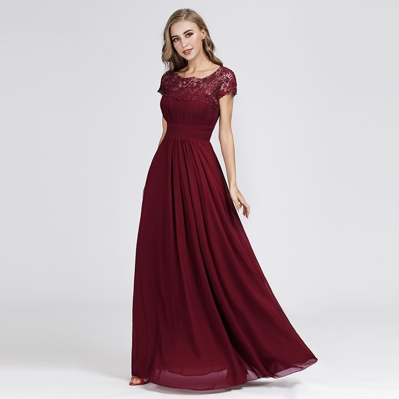 Elegant Burgundy   Evening     Dresses   Long A-Line O-Neck Short Sleeve Lace Women Formal Party   Dresses   2019 Robe De Soiree Lange Jurk