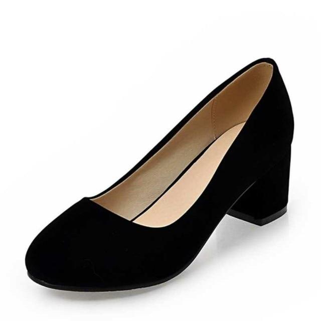 Plus Size 33-43 Lady Women Pumps Fashion Square Heel OL Shoes Woman Casual Dress Flock Upper Round Toe Less Platform Pumps